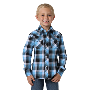 Boys'  Retro Light Blue/Black Plaid Long Sleeve Snap Shirt
