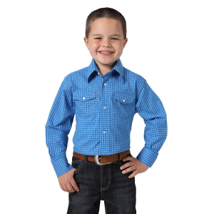 Boys'  Wrinkle Resist Royal Blue/White Plaid Long Sleeve Snap Shirt