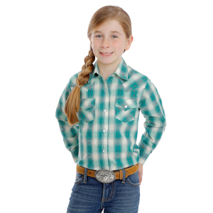 Girls'  Turquoise/Ivory Western Printed long Sleeve Snap Shirt
