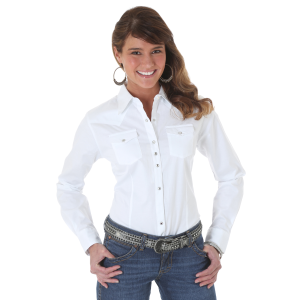 Women's  White Long Sleeve Solid Shirt