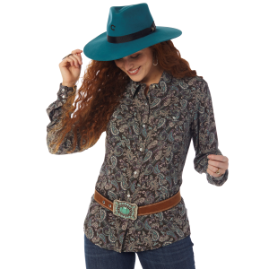 Women's  Vintage Violet Paisley Long Sleeve Snap Shirt