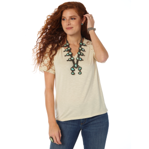 Women's  Lace Sleeve V-Neck Top