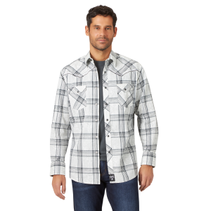 Men's  Rock 47 White/Black Plaid Long Sleeve Snap Shirt