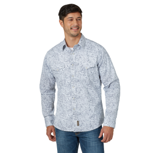 Men's  Retro Premium Paisley Long Sleeve Snap Shirt