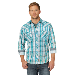 Men's  Retro Premium Teal Plaid Long Sleeve Snap Shirt