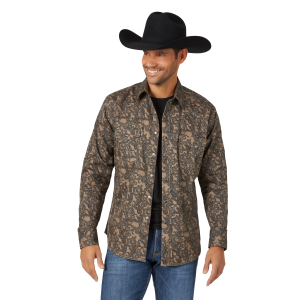 Men's  Retro Long Sleeve Snap Shirt