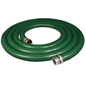 "1.5"" x 20' PVC Green Suction Hose with Pin Lug Fittings"
