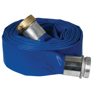 "1.5"" x 25' Blue  PVC Layflat Discharge Hose with Pin Lug Fittings"