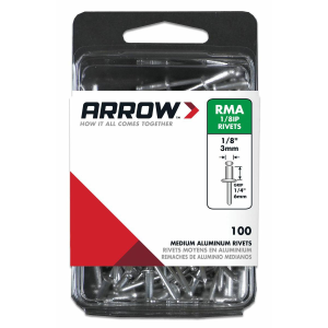 "1/8"" (3mm) Aluminum Medium Pop Rivets - 100 Pack"