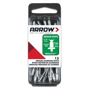 "3/16"" (5mm) Aluminum Medium Blind Rivets - 15 Pack"