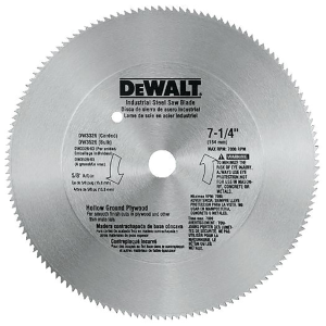"7-1/4"" 140T Steel Hollow Ground Plywood Saw Blade DW3326"