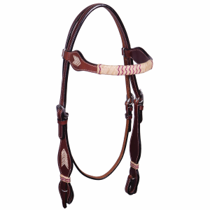 Flat Rawhide with Chevron Browband Headstall