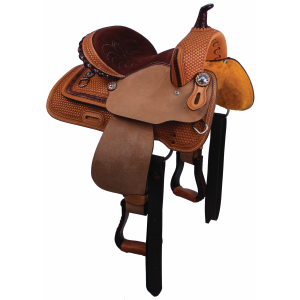 Barrel Racer Suede and Rawhide Trim Youth Saddle