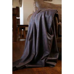 Chocolate Faux Leather Throw Blanket