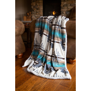 Lone Mountain Plush Sherpa Throw Blanket