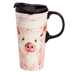 Pretty Pink Pig Travel Mug