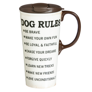 Ceramic Metallic Dog Rules Travel Mug