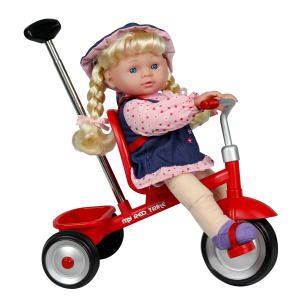 "13"" Soft-bodied Baby Doll on My Red Trike"