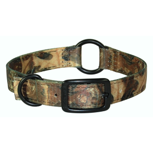 Nylon Double Thick Dog Collar with Center Ring-Leaf Camo