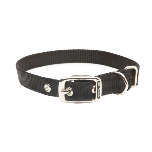 Nylon Single Thick Dog Collar with Metal Rings