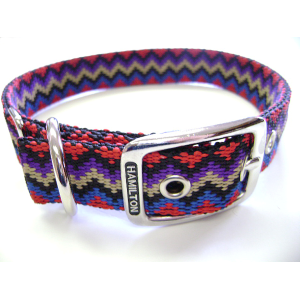 "Deluxe 1"" Nylon Double Thick Dog Collar-Weave Design"