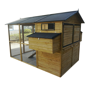 Deluxe Natural Wood Chicken Coop with Enclosed Run