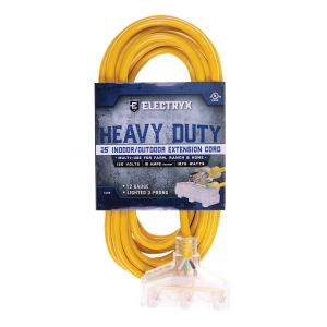 12 Gauge Heavy Duty Triple Outlet Indoor/Outdoor Extension Cord