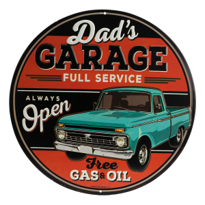 Dad's Garage Metal Embossed Sign