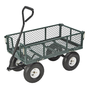 400 lb Steel Yard Cart With Fold-Down Sides
