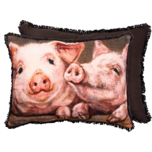 Two Farmhouse Pigs Cotton Throw Pillow