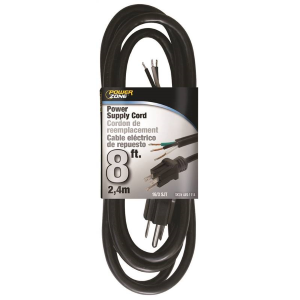 8' Black Power Supply Cord - 16/3