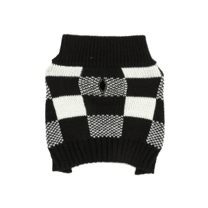 Checkered Knit Dog Sweater