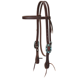 Working Cowboy Browband Headstall with Southwest Square Scalloped Hardware